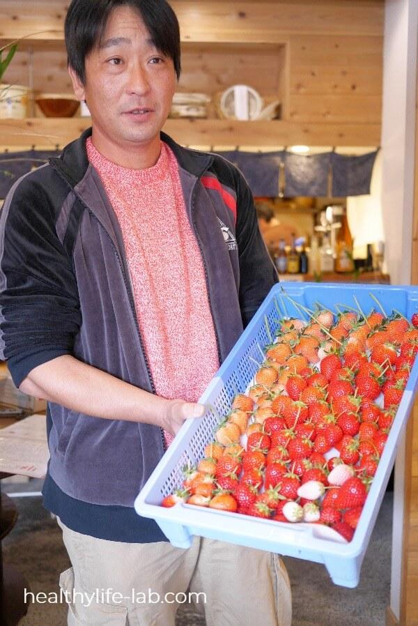 苺をかごいっぱいに持つむつみ農園酒井さんの写真